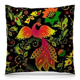 "Подушка 40х40 с полной запечаткой ""Жар-птица"" - цветы, узор, лес, ягоды, жар-птица"