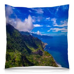 """Подушка 40х40 с полной запечаткой """"Остров"""" - облака, природа, горы, пейзаж, скалы"""