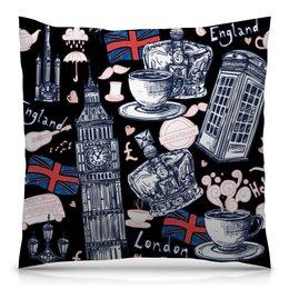"""Подушка 40х40 с полной запечаткой """"Лондон"""" - корона, город, чай, кофе, путешествие"""