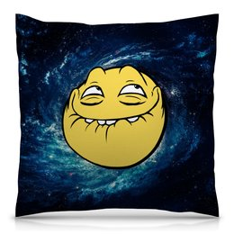 """Подушка 40х40 с полной запечаткой """"космос mem"""" - мем, смешные, лицо, космос, mem"""