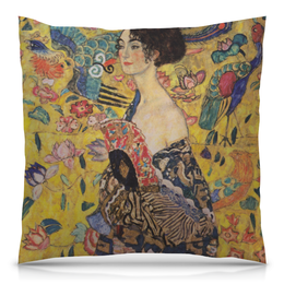 """Подушка 40х40 с полной запечаткой """"Дама с веером (Густав Климт)"""" - картина, живопись, климт"""