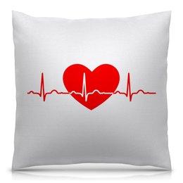"""Подушка 40х40 с полной запечаткой """"Сердце"""" - сердце, сердца, рисунок, сердечки, линия жизни"""