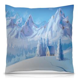 "Подушка 40х40 с полной запечаткой ""Зимний пейзаж"" - снег, зима, пейзаж, природа, картина"