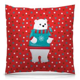 """Подушка 40х40 с полной запечаткой """"Мишка"""" - новый год, медведь, мишка, медведи, горошек"""