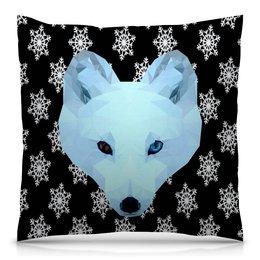 """Подушка 40х40 с полной запечаткой """"Белый волк"""" - животные, лиса, волк, белый медведь"""