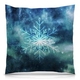 "Подушка 40х40 с полной запечаткой ""snowflake"" - голубой, снег, снежинка, абстракт"