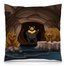 """Подушка 40х40 с полной запечаткой """"Медведи"""" - медведь, мишка, пещера, медведица"""