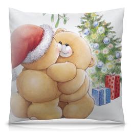 """Подушка 40х40 с полной запечаткой """"С Новым Годом"""" - новый год, мишки"""