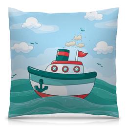 """Подушка 40х40 с полной запечаткой """"Морская"""" - море, детский, волны, корабль, морской"""