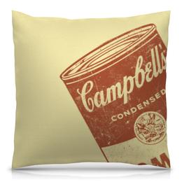 """Подушка 40х40 с полной запечаткой """"Банка с супом Кэмпбелл"""" - арт, поп арт, энди уорхол, суп кэмпбелл, campbells soup can"""