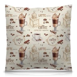 """Подушка 40х40 с полной запечаткой """"Капучино"""" - напиток, кофе, капучино, латте, koffee"""