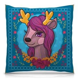 """Подушка 40х40 с полной запечаткой """"Милый мультяшный очаровательный олененок"""" - лошадь, красивый, сказка, иллюстрация, мульт"""