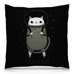 "Подушка 40х40 с полной запечаткой ""Space cat"" - кот, cat, cosmic, space, космос"