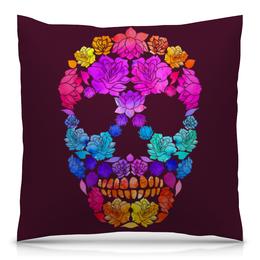 """Подушка 40х40 с полной запечаткой """"Skull Art"""" - skull, череп, цветы, черепа, skulls"""