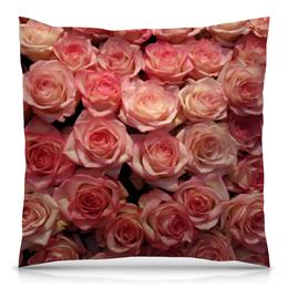 """Подушка 40х40 с полной запечаткой """"Цветы розы"""" - розы, бутоны"""