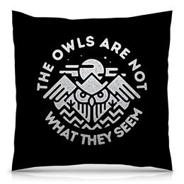 "Подушка 40х40 с полной запечаткой ""Твин Пикс"" - twin peaks, твин пикс, the owls are not what they seem, дэвид линч, агент купер"
