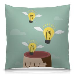 """Подушка 40х40 с полной запечаткой """"Мысль"""" - идея, мысль, мозг, креатив, лампочка"""