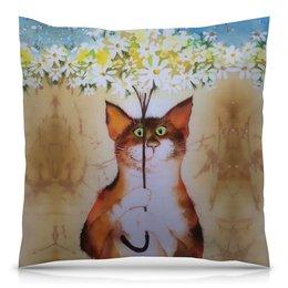 """Подушка 40х40 с полной запечаткой """"Котик с ромашками"""" - цветочки, мимишки"""