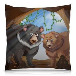 """Подушка 40х40 с полной запечаткой """"Медведи"""" - медведь, мишка, медведица"""