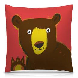 """Подушка 40х40 с полной запечаткой """"Обнимашки с мишкой"""" - медведь, детям, детская комната, детская иллюстрация"""