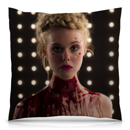 "Подушка 40х40 с полной запечаткой ""Эль Фэннинг"" - неоновый демон, elle fanning, the neon demon, эль фэннинг"
