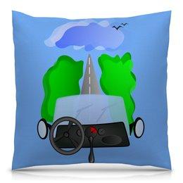 """Подушка 40х40 с полной запечаткой """"Дорога к облакам или путешествие к мечте"""" - цель, путешествие, дорога к облакам, путь к мечте, вперед и вверх"""