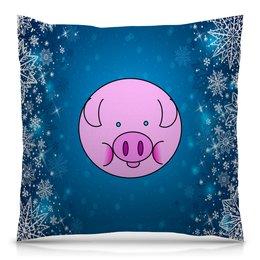 """Подушка 40х40 с полной запечаткой """"Год кабана"""" - новый год, животные, свинья, поросенок, год кабана"""