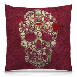"Подушка 40х40 с полной запечаткой ""Skull Art"" - skull, skulls, арт, череп, черепа"