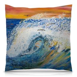 """Подушка 40х40 с полной запечаткой """"Волна"""" - арт, стиль, море, интерьер, волны"""