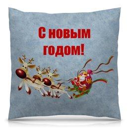 """Подушка 40х40 с полной запечаткой """"Новый год"""" - праздник, новый год, зима, снежинки, елка"""