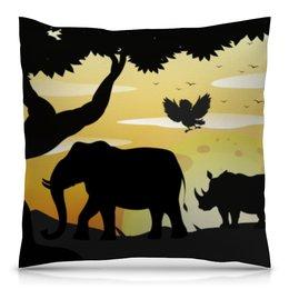 "Подушка 40х40 с полной запечаткой ""Сафари на рассвете"" - лето, птица, слон, природа, жираф"