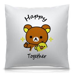 """Подушка 40х40 с полной запечаткой """"Счастливы вместе"""" - прикол, любимой, любимому, годовщина, рилаккума"""