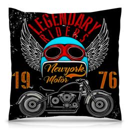 """Подушка 40х40 с полной запечаткой """"Legendary riders"""" - мотоцикл, скорость, гонщик, транспорт, крылья"""