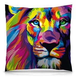 """Подушка 40х40 с полной запечаткой """"Разноцветный лев"""" - хищник, лев, рисунок, графика, животное"""