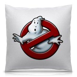 """Подушка 40х40 с полной запечаткой """"Охотники за привидениями"""" - знак, фильмы, призрак, охотники за привидениями, привидение"""