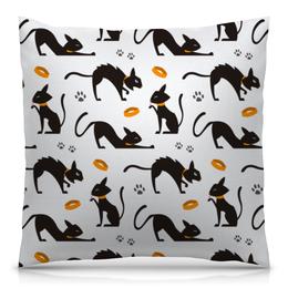 """Подушка 40х40 с полной запечаткой """"Чёрные кошки"""" - кот, кошка, животные, коты, котёнок"""