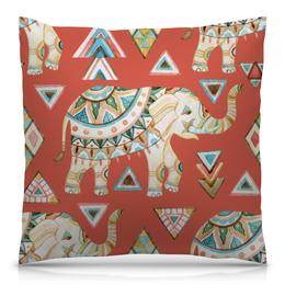 """Подушка 40х40 с полной запечаткой """"Индия"""" - животные, слон, графика, треугольники, индия"""