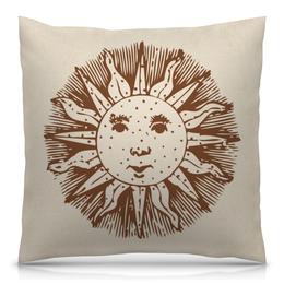 """Подушка 40х40 с полной запечаткой """"Солнечный лик"""" - солнце, лицо, рисунок, человек, лучи"""