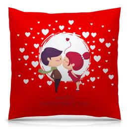 """Подушка 40х40 с полной запечаткой """"День влюблённых"""" - любовь, 14 февраля, сердечки, день влюблённых, пары"""