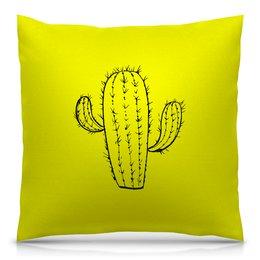 """Подушка 40х40 с полной запечаткой """"кактус"""" - цветы, растения, кактус, иголки, кактусы"""