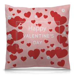 """Подушка 40х40 с полной запечаткой """"Сердечки"""" - любовь, сердца, день святого валентина, 14 февраля, день влюбленных"""