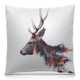 """Подушка 40х40 с полной запечаткой """"Олень"""" - животные, природа, олень, олени, рога"""