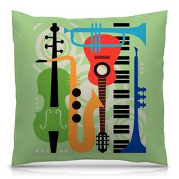 """Подушка 40х40 с полной запечаткой """"Музыкальные инструменты"""" - музыка, гитара, скрипка, инструменты, саксафон"""