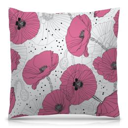 "Подушка 40х40 с полной запечаткой ""Маки."" - маки, цветок, цветы, нежный цветок, лето"