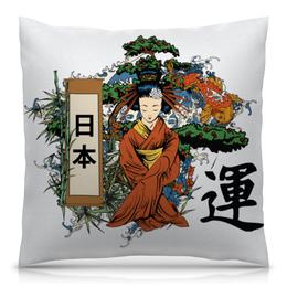 """Подушка 40х40 с полной запечаткой """"Японская"""" - гейша, япония, иероглифы, восточный, бонсай"""