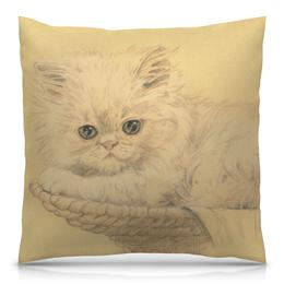 """Подушка 40х40 с полной запечаткой """"Мне хочется ласки"""" - котенок, графика, нежность, няшный котенок, обиженный"""