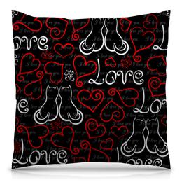 """Подушка 40х40 с полной запечаткой """"День Св. Валентина"""" - сердце, любовь, коты, день св валентина"""