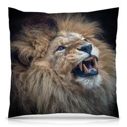 """Подушка 40х40 с полной запечаткой """"Лев (Lion)"""" - царь зверей, большая кошка"""