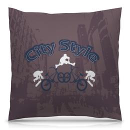"""Подушка 40х40 с полной запечаткой """"Городской стиль"""" - скейт, стиль, город, ролики, велосипед"""