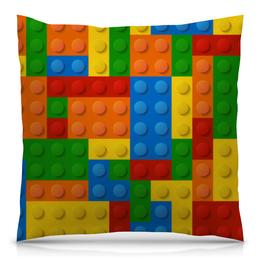 """Подушка 40х40 с полной запечаткой """"Конструктор Лего"""" - рисунок, детский, игрушка, конструктор, лего"""
